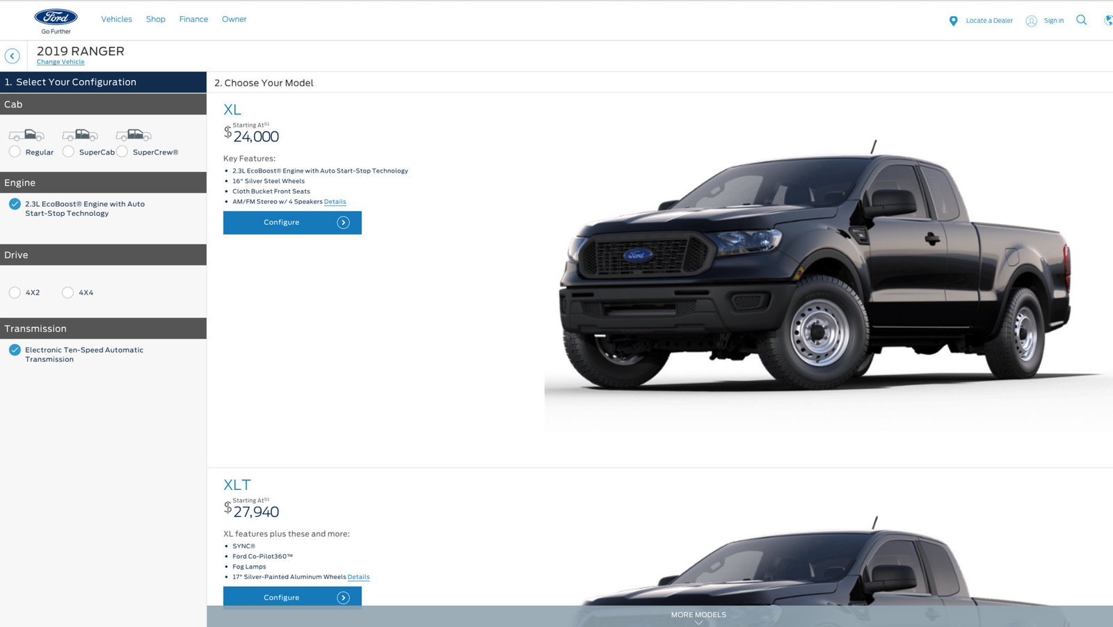2019 Ford Ranger configuration tool and pricing [draft] live